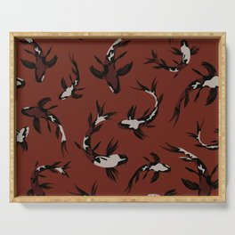 Contemporary Koi Fishes / Bold Earth Tones Serving Tray