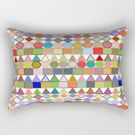 Modern Tribal Geometric, Multi Pastels on White Rectangular Pillow