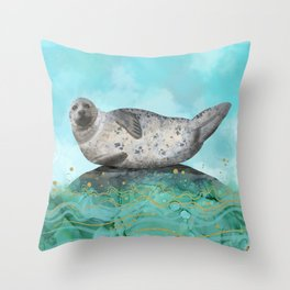 Cute Alaskan Iliamna Seal in Banana Pose Throw Pillow