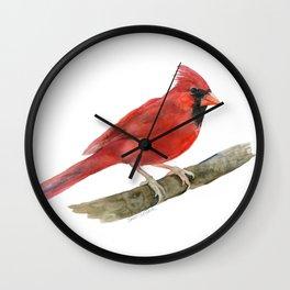 Red Cardinal Watercolor Wall Clock