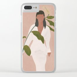 Elegant Lady holding a Flower Clear iPhone Case