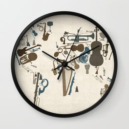 Musical Instruments Map of the World Wall Clock