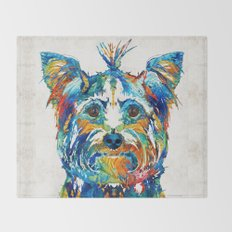 Colorful Yorkie Dog Art - Yorkshire Terrier - By Sharon Cummings Throw Blanket
