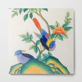 Minhwa: Peony and Two Little Birds (Korean traditional/folk art) Metal Print