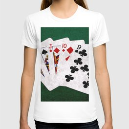 Poker Hand Straight King Queen Jack Ten Nine T-shirt