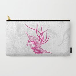Pink Bird & Floral Henna Carry-All Pouch