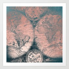 Vintage World Map Rose Gold and Storm Gray Navy Art Print