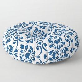 Feuille Damask Pattern Dark Blue on White Floor Pillow