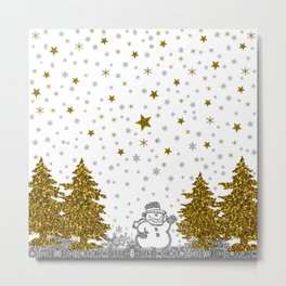 Beautiful glitter New Year on white Metal Print