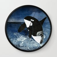 killer whale Wall Clocks featuring Killer Whale Orca by Aquamarine Studio
