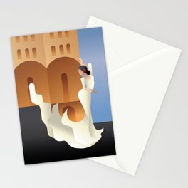 Art Deco Spain Flamenco dancer on sity landscape Stationery Cards