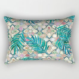 Muted Moroccan Mosaic Tiles with Palm Leaves Rectangular Pillow