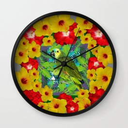 RED-YELLOW HIBISCUS & GREEN PARROT JUNGLE GRAY  ART n Wall Clock