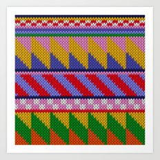 Knitted colorful abstract pattern Art Print