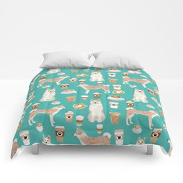 Akita coffee pattern akitas dog breed pet portrait by pet friendly turquoise Comforters