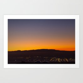 Te Mata Peak Sunset car silhouettes Art Print