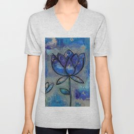 Abstract - Lotus flower - Intuitive Unisex V-Neck