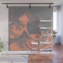 The Great Wave Peach & Gray Wall Mural