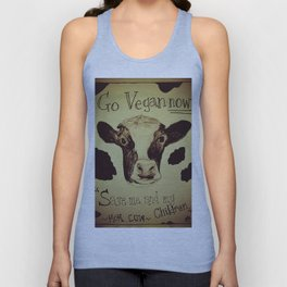 Go Vegan Now - Save Me And My Children Cow Mom Unisex Tank Top