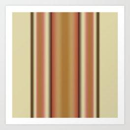 Gradient Brown Stripe Art Print