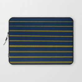 Slate Blue and Honey Gold Stripes Laptop Sleeve