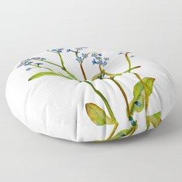 Forget-me-not flowers watercolor art Floor Pillow