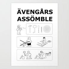Superheroes Assembling - Black & White Art Print