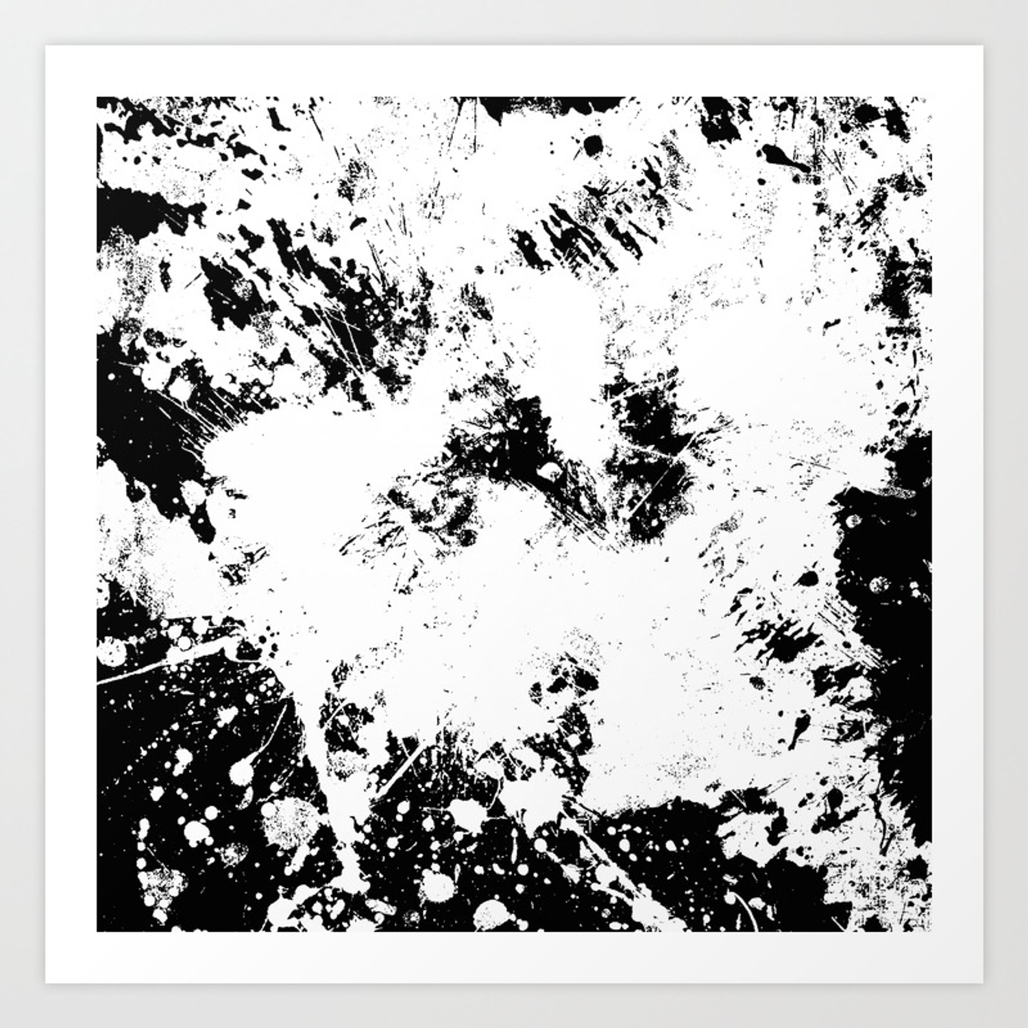 Spilt white textured black and white abstract painting art print by printpix society6