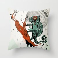 chameleon Throw Pillows featuring CHAMELEON by taniavisual