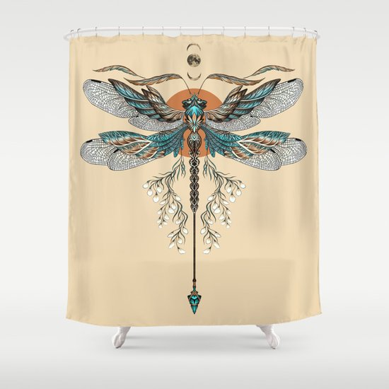 dragonfly tattoo shower curtain by ruta13 society6