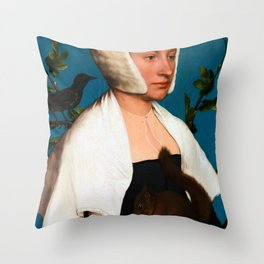 """Hans Holbein the Younger """"Portrait of a Lady with a Squirrel and a Starling (Anne Lovell)"""" Throw Pillow"""