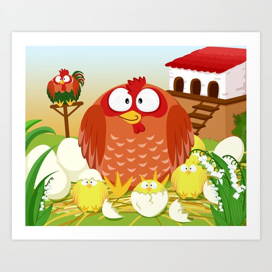 Hen, Rooster and chicks in May month series Art Print