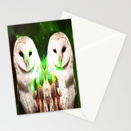 Twins Owls Stationery Cards