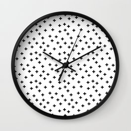 Black hand drawn pluses pattern on white Wall Clock