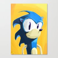 sonic Canvas Prints featuring Sonic by tonguestubble