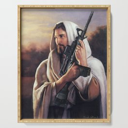 Assault Rifle Jesus Christ Messiah - Who WOuld Jesus Shoot Serving Tray