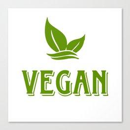 Vegan, white circle Canvas Print