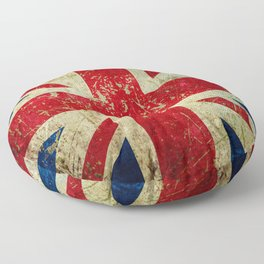 Grunge Scratched Metal Union Jack / British Flag Floor Pillow