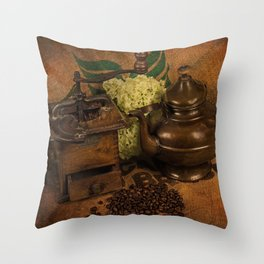 Vintage coffee grinder, pot an beans Throw Pillow
