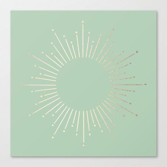 Simply Sunburst in Pastel Cactus Green Canvas Print