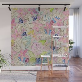 Watercolor and gold floral hand paint design Wall Mural