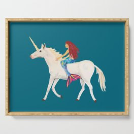 Red Haired Mermaid Rides the Unicorn Serving Tray
