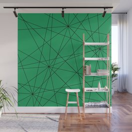 Fractal pattern of black intersecting lines on a lush green background. Wall Mural