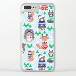 Christmas woodland Clear iPhone Case