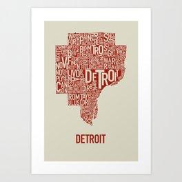Detroit Map Red & Tan Art Print
