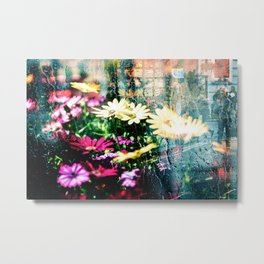 Flower and glass Metal Print