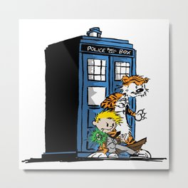 calvin and hobbes police box in action Metal Print