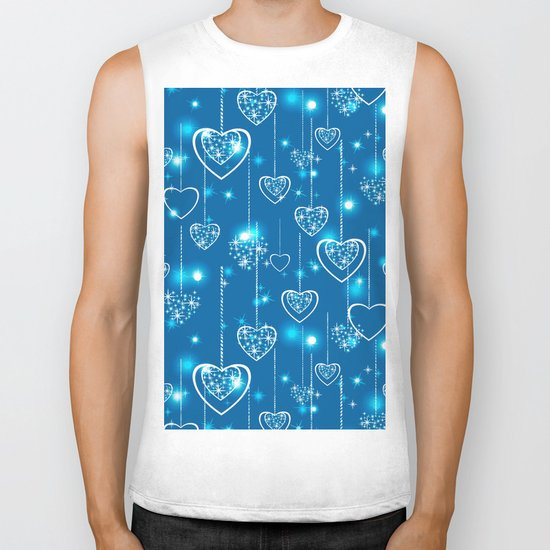 Bright openwork hearts on a light blue background. Biker Tank