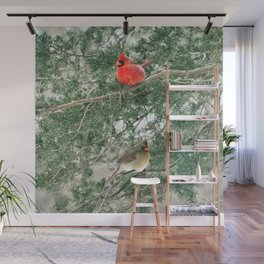 Tree for Two (Northern Cardinals) Wall Mural