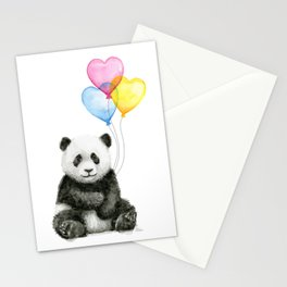 Panda Baby with Heart-Shaped Balloons Whimsical Animals Nursery Decor Stationery Cards
